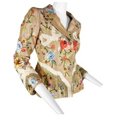 2000 Oscar de la Renta Poly Chrome Floral Embroidered Taupe Silk Jacket Size 4