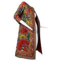 2000 Oscar de la Renta Silk Print & Embroidered Turkish Style Coat Size 8
