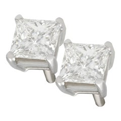2000s 1.41 Carat Diamond and Platinum Stud Earrings