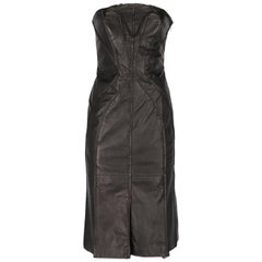 2000s Alberta Ferretti Black Leather Dress