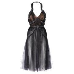 2000s Alberta Ferretti Black Tulle Dress With Buckles