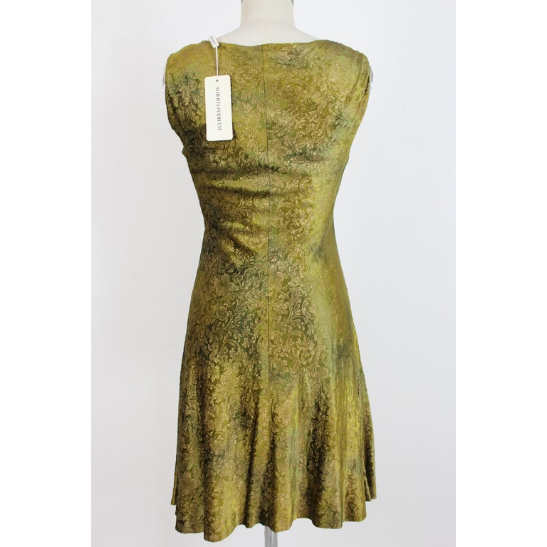 Alberta Ferretti vintage dress for women. Green and gold color, 100% rayon. Damask with floral designs, armholes, lined inside. 2000s. Made in Italy. New with label.  Size: 42 It 8 Us 10 Uk  Shoulder: 42 cm Bust / Chest: 44 cm Length: 95 cm