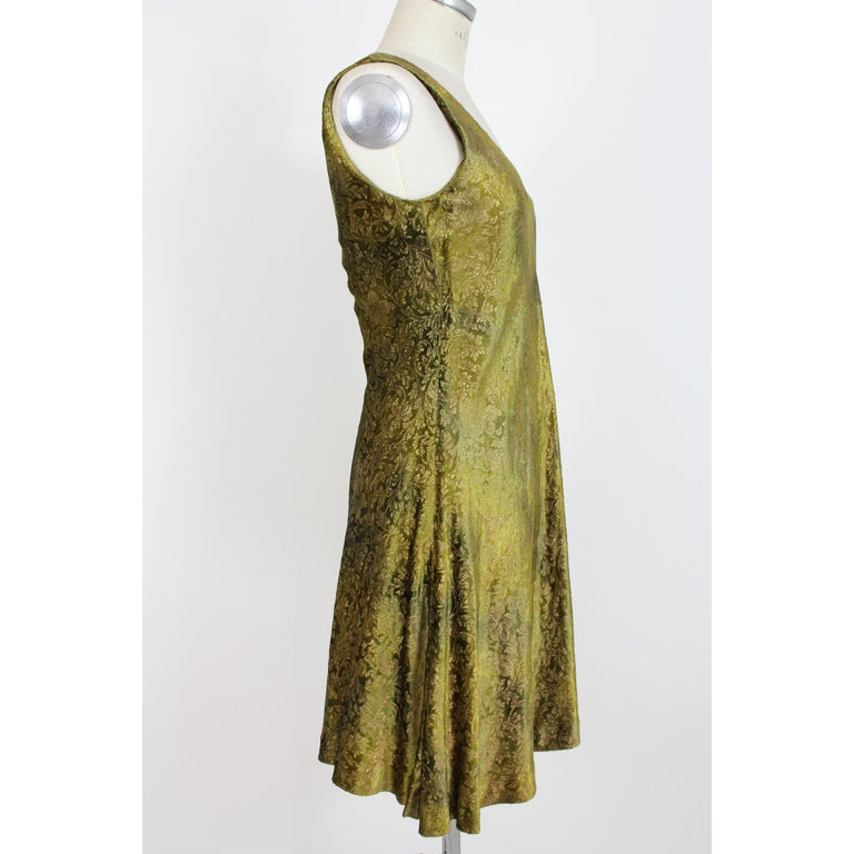 Brown 2000s Alberta Ferretti Green Gold Damask Floral Sz 8 A Line Dress For Sale