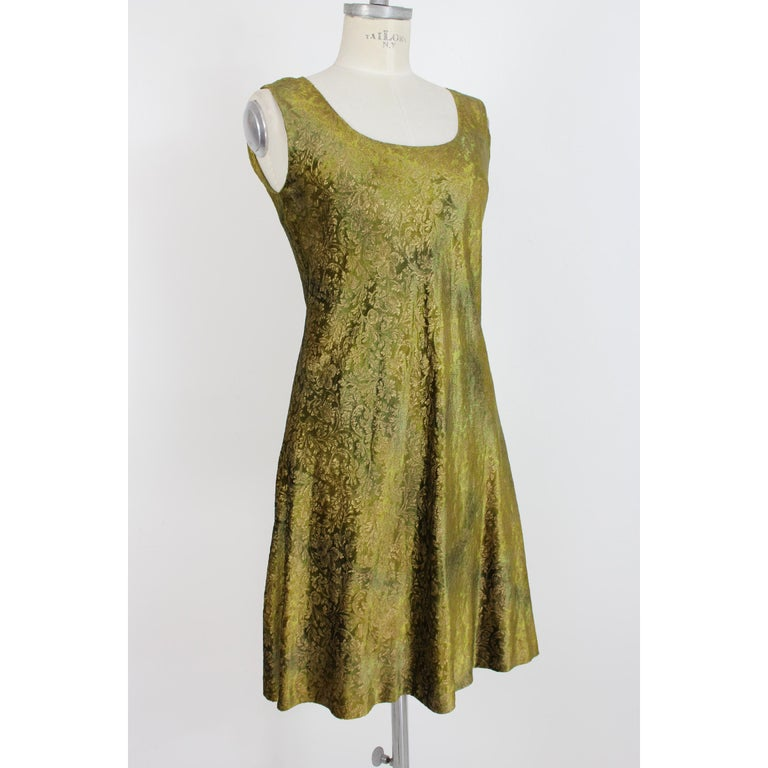 2000s Alberta Ferretti Green Gold Damask Floral Sz 8 A Line Dress In New Condition For Sale In Brindisi, Bt