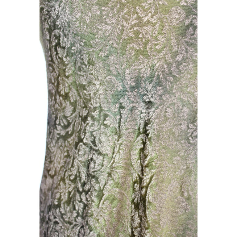 Women's 2000s Alberta Ferretti Green Gold Damask Floral Sz 8 A Line Dress For Sale