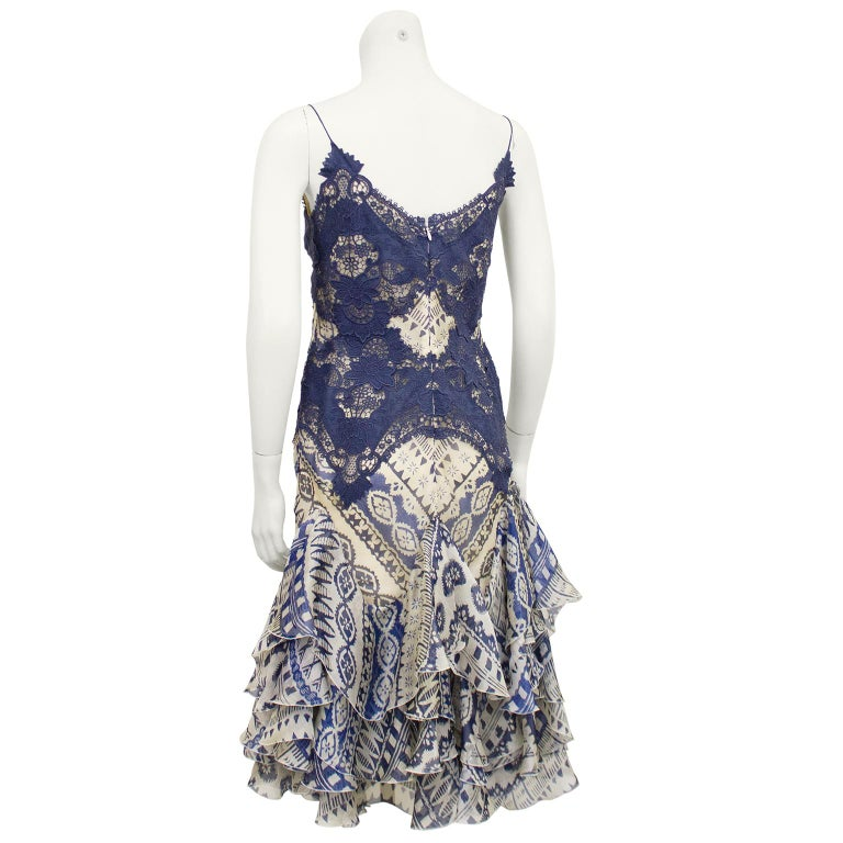 2000's Alexander McQueen Lace and Printed Cocktail Dress  In Good Condition For Sale In Toronto, Ontario