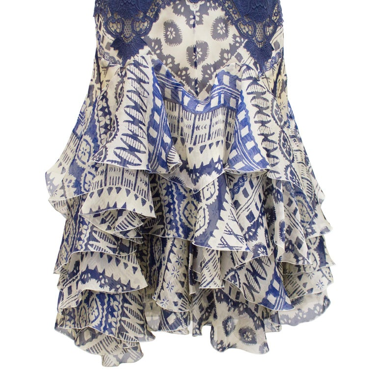 Women's 2000's Alexander McQueen Lace and Printed Cocktail Dress  For Sale