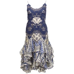 2000's Alexander McQueen Lace and Printed Cocktail Dress