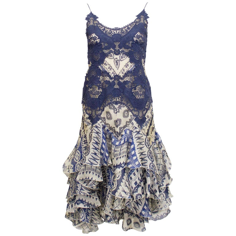 2000's Alexander McQueen Lace and Printed Cocktail Dress  For Sale