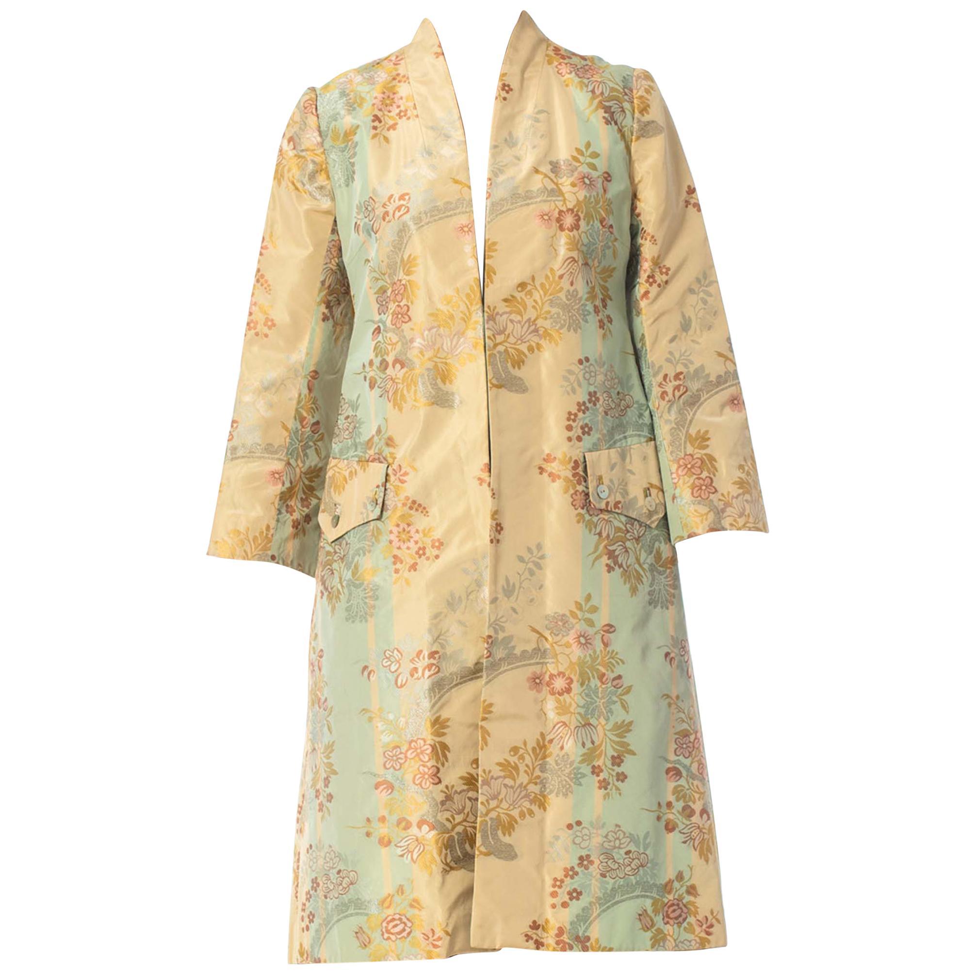 2000S ALEXANDER MCQUEEN Silk Brocade Frock Coat Jacket From The Shipwreck Colle