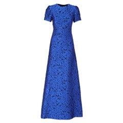2000s Alexander Terekhov Blue Jacquard Dress