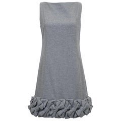 2000s Alexis Mabille Demi Couture Grey Wool Dress