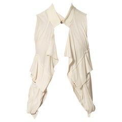 2000S Ann Demeulemeester Ivory Cotton Jersey Cargo Pocket Draped Top