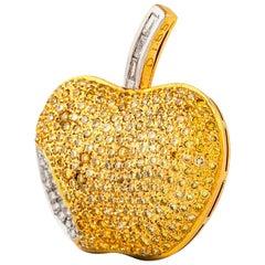 2000s Apple Pendant with Yellow Diamond and Diamonds