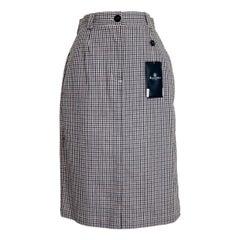 2000s Aquascutum Beige Cotton Blue Checked Long Skirt