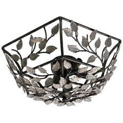 2000s Bagues Style Wrought Iron and Crystal Flushmount Light with Floral Details