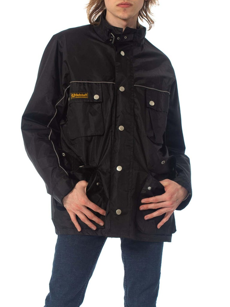 2000S Belstaff Black Polyester Motorcycle Jacket With Removable Lining In Excellent Condition For Sale In New York, NY