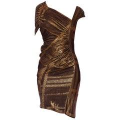 2000S Black & Copper Rayon/Lurex Jersey Asymmetrical Sexy Draped Cocktail Dress