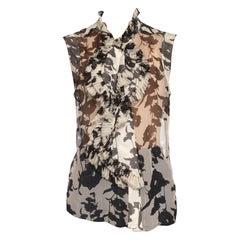 2000S Black & White Floral Silk Chiffon Ruffled Sleeveless Top