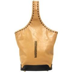 2000s Borbonese Beige Leather Bag