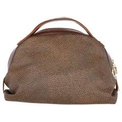 2000s Borbonese Brown Half-moon Handbag