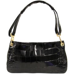 2000s Bottega Veneta Black Crocodile Leather Bag