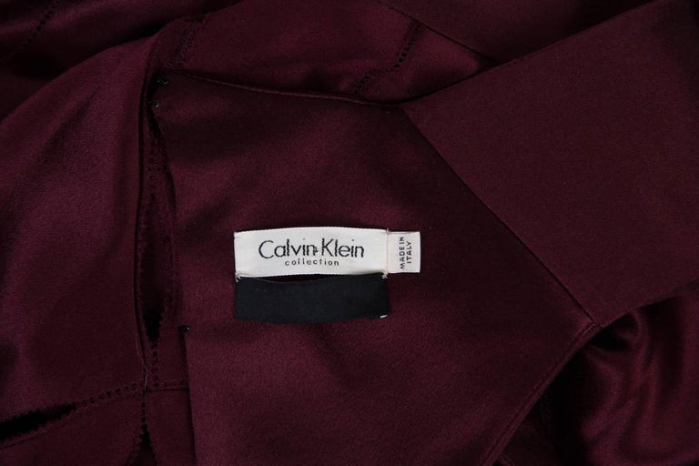 2000S CALVIN KLEIN Burgundy Bias Cut Silk Crepe Back Satin Patchwork Cut-Out Go For Sale 5
