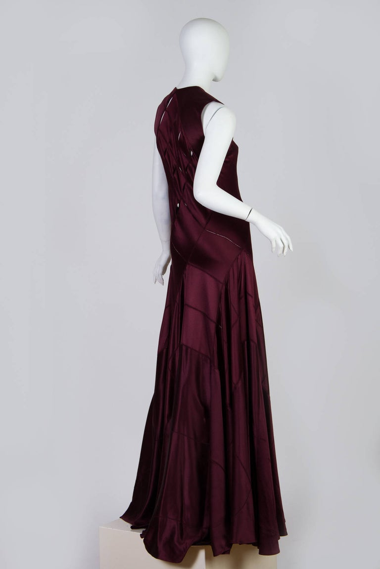 Black 2000S CALVIN KLEIN Burgundy Bias Cut Silk Crepe Back Satin Patchwork Cut-Out Go For Sale
