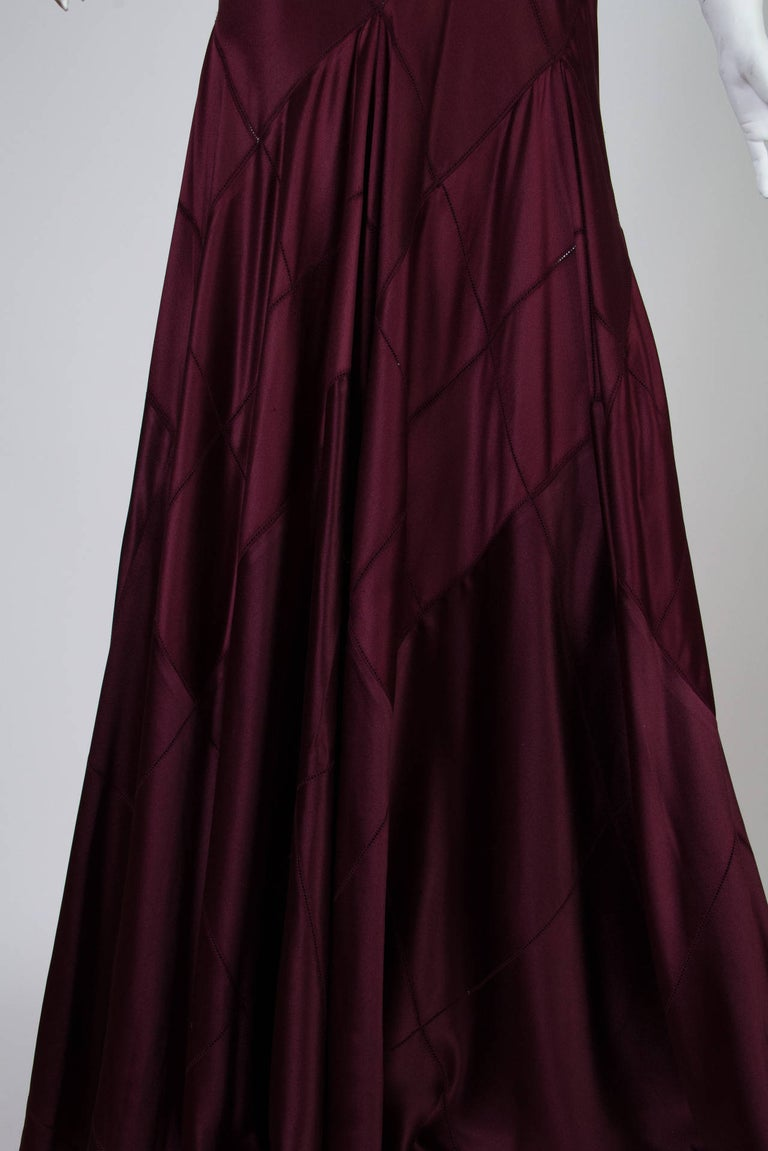 2000S CALVIN KLEIN Burgundy Bias Cut Silk Crepe Back Satin Patchwork Cut-Out Go For Sale 2