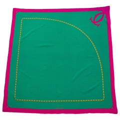 2000s Cartier Green & Pink Silk Scarf