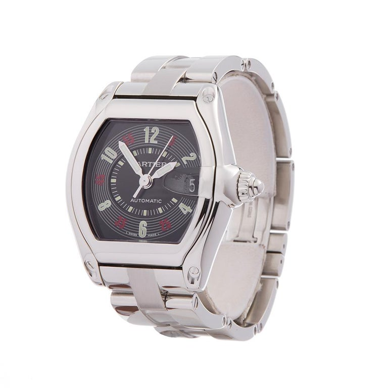 Contemporary 2000s Cartier Roadster Stainless Steel 2510 or W62002V3 Wristwatch  *  *Complete with: Box Only dated 2000s  *Case Size: 38mm by 44mm  *Strap: Stainless Steel  *Age: 2000's  *Strap length: Adjustable up to 17cm. Please note we can order