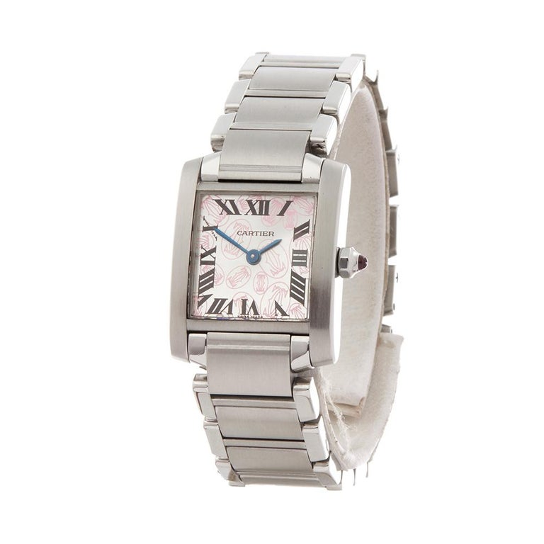 Contemporary 2000's Cartier Tank Francaise Anniversary Stainless Steel Wristwatch  *  *Complete with: Presentation Pouch dated 2000's  *Case Size: 20mm by 25mm  *Strap: Stainless Steel  *Age: 2000's  *Strap length: Adjustable up to 14cm. Please note
