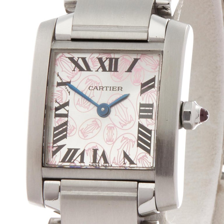 2000s Cartier Tank Francaise Anniversary Stainless Steel Wristwatch In Excellent Condition For Sale In Bishops Stortford, Hertfordshire