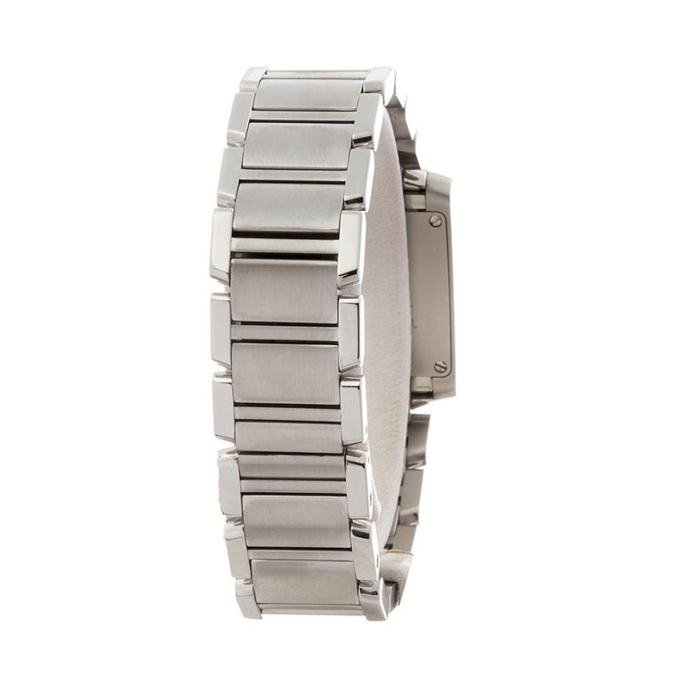 2000s Cartier Tank Francaise Anniversary Stainless Steel Wristwatch For Sale 2