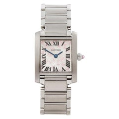 2000s Cartier Tank Francaise Anniversary Stainless Steel Wristwatch