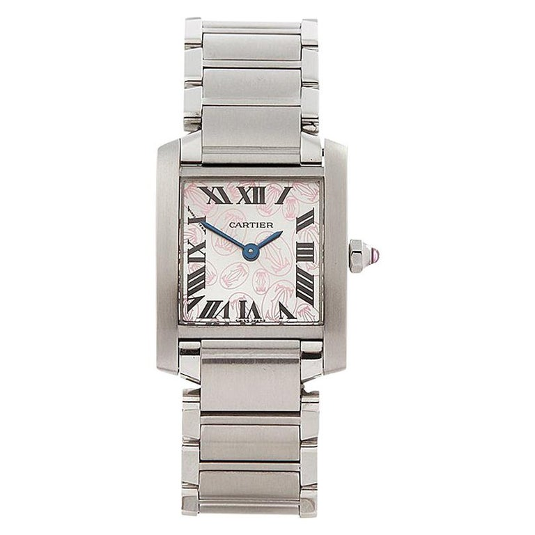 2000s Cartier Tank Francaise Anniversary Stainless Steel Wristwatch For Sale