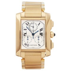 2000s Cartier Tank Francaise Chronoflex Steel and Gold W50005R2 Wristwatch