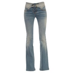 2000S Cavalli Mid Wash Cotton & Elastane  Denim Front Lace-Up Jeans With Light