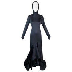 2000's Celine by Michael Kors Dark Gray L/S Hooded Extra Long Gown Dress
