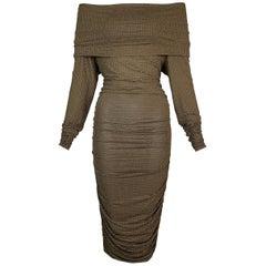 2000's Celine Michael Kors Gold Studded Brown Off Shoulder Ruched Wiggle Dress