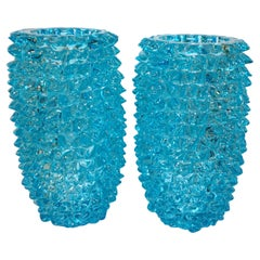 2000s Cenedese Italian Pair of Aquamarine Blue Rostrato Murano Glass Ovoid Vases