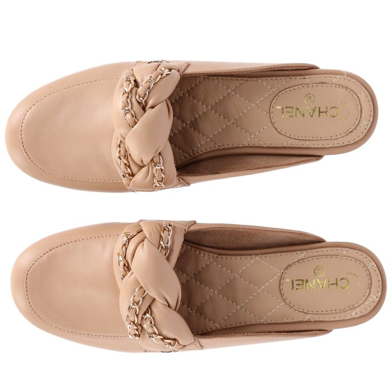 2000s Chanel Beige Leather Mules For Sale 2