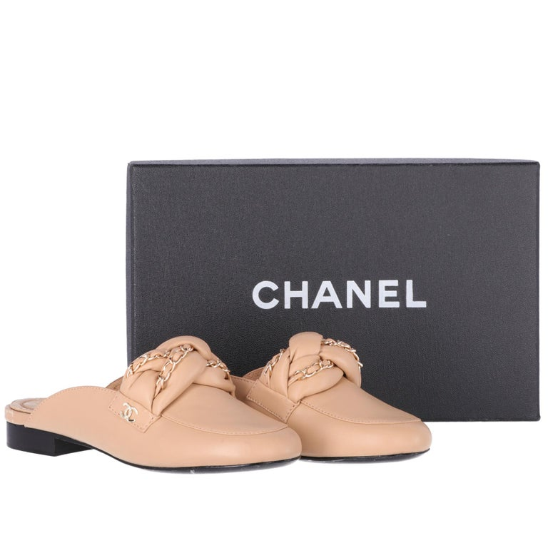 2000s Chanel Beige Leather Mules For Sale 3