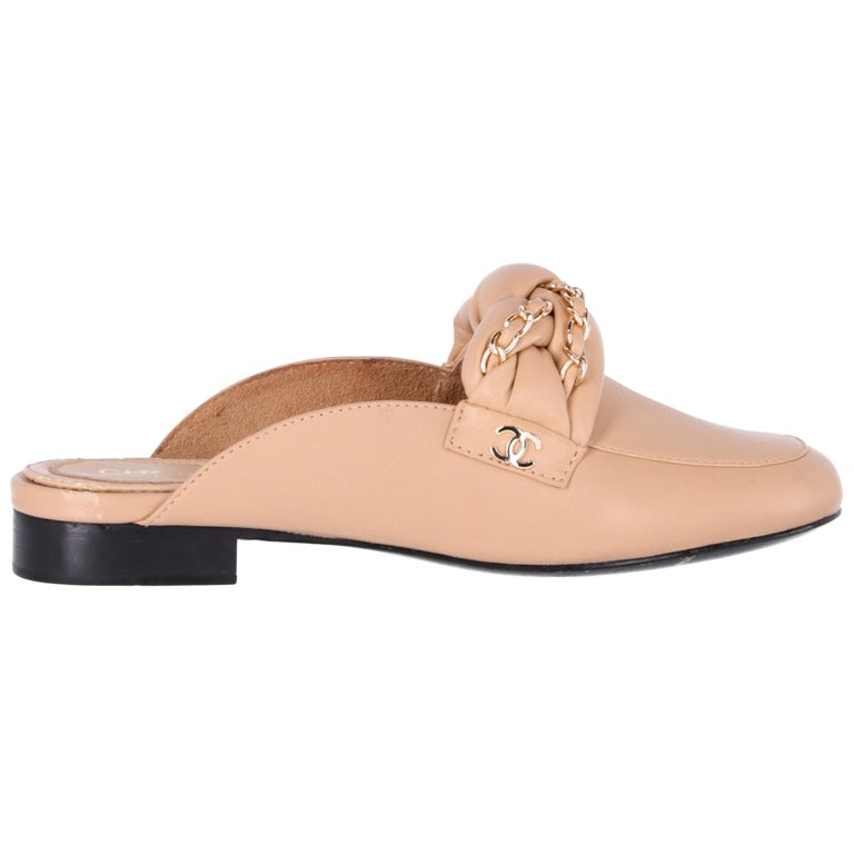 2000s Chanel Beige Leather Mules For Sale