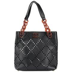2000s Chanel Black Leather Openwork Bag