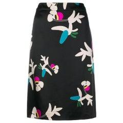 2000s Chanel Black Printed Skirt