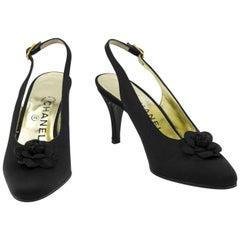 2000's Chanel Black Satin Sling Back Shoes With Gardenia