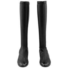 2000's Chanel Black Stretch Leather Boots with Patent Details