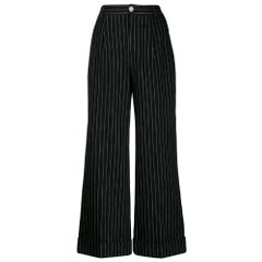 2000s Chanel Black Wide Pinstripes Trousers