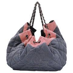 2000s Chanel Blue Stretch Spirit Cabas Bag